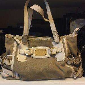 Micheal Kors canvas ivory leather shoulder bag